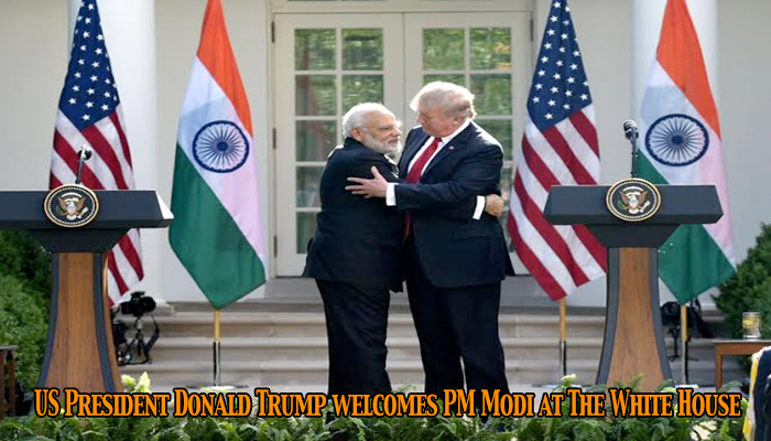 United States President Donald Trump welcomes PM Narendra Modi at The White House
