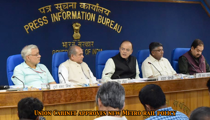 Finance Minister, Arun Jaitley  Union cabinet approves new Metro rail policy