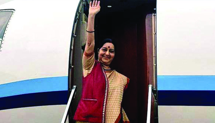 External Affairs Minister Sushma Swaraj reaches Kyrgyzstan as part of her 3-central asian nations` tour